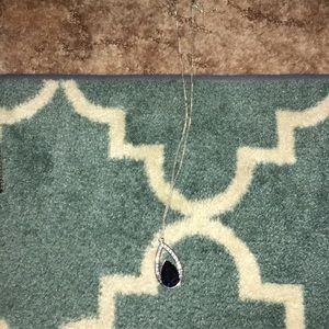 Long tear drop necklace blue